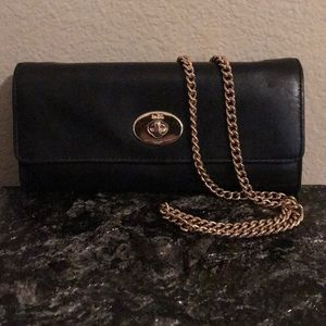 Coach Black Wallet with optional gold chain
